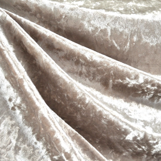 "Velvet Panne Crushed Backdrop Velour Stretch Fabric 60"" Wide By Yard, Draping, Curtains, Appeal Dresses 100% Polyester Champagne"