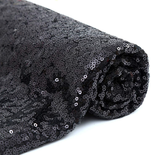 Sparkly Sequin Fabric Black Sequin Fabric for Bows Glitz Sequin Table Runner/Tablecloth/Dress. Sold By The Yard