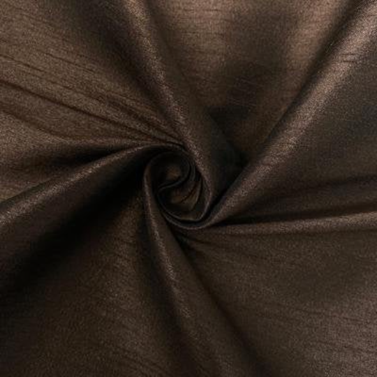 "Poly Dupioni Raw Silk Dupioni Fabric - 58/60"" - Sold By Yard - 100% Polyester. Chocolate"