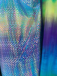 "Iridescent Dragon Scales Foil on Tie Dye Fabric Sold by Yard (Stretch Fabric) 60"" Wide Blue/Green"