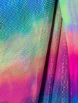 "Rainbow Tie Dye Fabric Dotted Iridescent Foil All Over Sold by Yard. Stretch Fabric 60"" Wide"