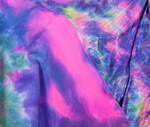 Stretch Tie Dye Dotted Mermaid Scales Foil on Nylon Spandex Sold by Yard
