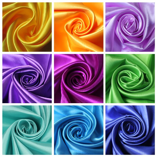 High Quality Medium Satin Non Stretch Satin Polyester Fabric By The Yard. Choose Color Below