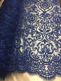 Jerusalem's Beaded Fabric-Embroidery on Polyester Mesh Wedding Dress Royal Blue By The Yard