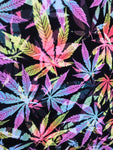 Multi Color Hologram all over marihuana leafs on poly spandex fabric sold by the yard
