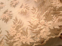 Champagne Brown Bridal Wedding Floral Mesh Lace Fabric by Yard