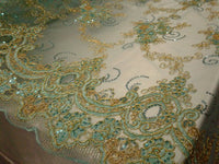 "Elegant Aqua 50"" Floral Embroidery Lace with Sequins in Mesh by Yard"