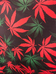 Red Green Mix All over marihuana leafs on poly spandex fabric sold by the yard