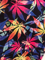 Multi Color Mix All over marihuana leafs on poly spandex fabric sold by the yard