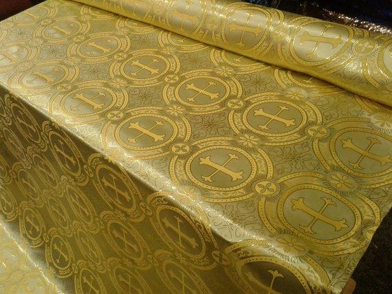 "Gold Metallic Jacquard Gold Cross Design Fabric 60"" Sold by the yard"