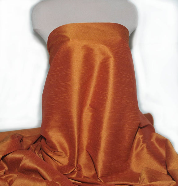 "Shantung Dupioni Faux Silk Fabric , sold by Yard, 58"" wide.Orange"