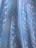 Silver Iridescent Mermaid Fish on White Spandex Fabric Sold By The Yard Bows, Mermaid Tails, Leggings Mermaid Iridescent