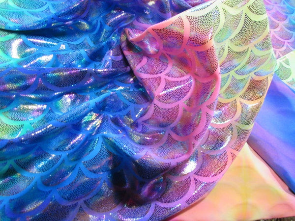 Rainbow Mermaid Fabric Spandex Unicorn Colors Scale Print Sold By The Yard Pageants Dance Skate Performance