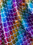Rainbow Mermaid Scale Fabric on White Spandex Fabric Sold by Yard Fish Scales