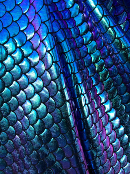 Mermaid Two Tone Scale Fabric Iridescent Color Turquoise Purple on Spandex Fabric Sold by Yard Fish Scales Iridescent