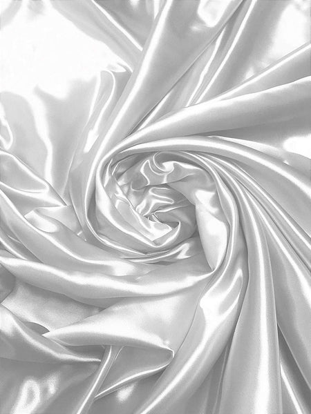 "Bridal Satin Thick and Shiny 60"" Wide Sells by The Yard (White)"