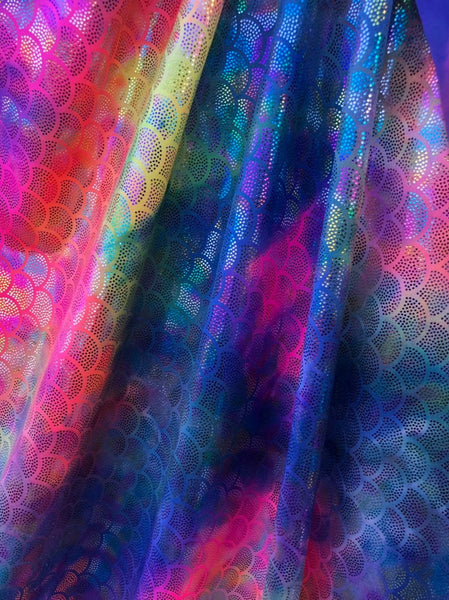 Rainbow Mermaid Scale Fabric on Purple Spandex Fabric Sold By Yard Fish Scales