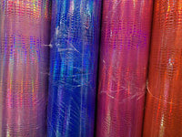 "Iridescent Crocodile Design Heavy Vinyl With Foil 58/60"" Non Stretch Sold By The Yard. Choose Color Below"