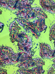 Lava Splash Print Neon Yellow Color on 4 Way Stretch Poly Spandex Sold By The Yard