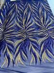 Exotic Design Prints Iridescent Royal/Gold Sequins Fabric 4 Way Stretch By Yard Embroidered On Blue Power Mesh With Shiny Sequins Dress Top
