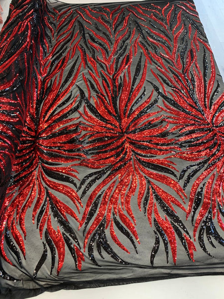Exotic Design Prints Iridescent Black/Red Sequins Fabric 4 Way Stretch By Yard Embroidered On Black Power Mesh With Shiny Sequins Dress Top