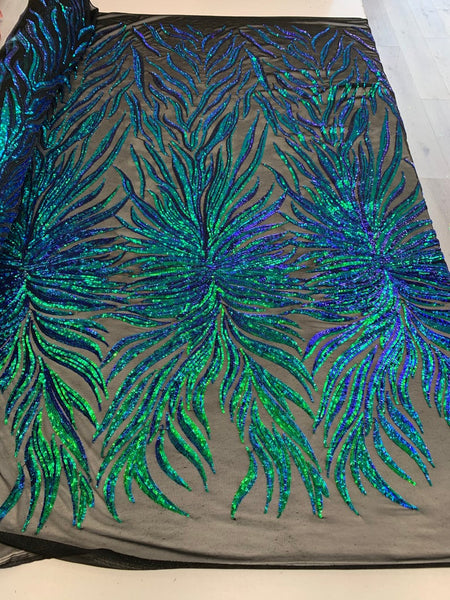 Exotic Design Prints Iridescent Blue/Green Sequins Fabric 4 Way Stretch By Yard Embroidered On Black Power Mesh With Shiny Sequins Dress Top