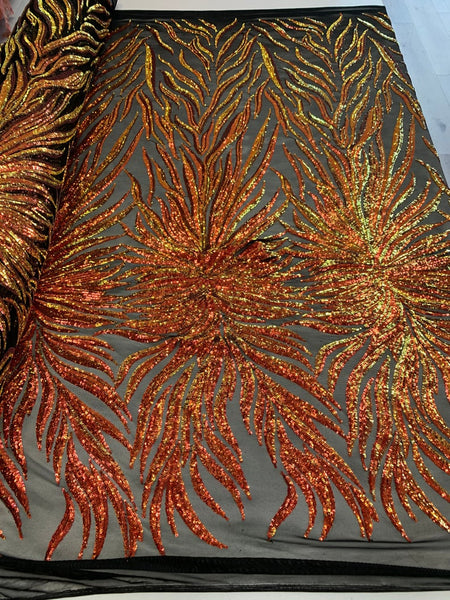 Exotic Design Prints Iridescent Orange/Green Sequins Fabric 4 Way Stretch By Yard Embroidered On Black Power Mesh With Shiny Sequins Top