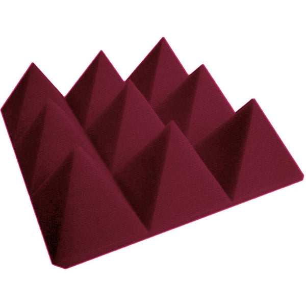 "4"" Burgundy Acoustic Foam (12 Pack Kit) - Pyramid 4"" 12"" x 12"" covers 12sq Ft SoundProofing/Blocking/Absorbing Acoustical Foam Made In USA!"