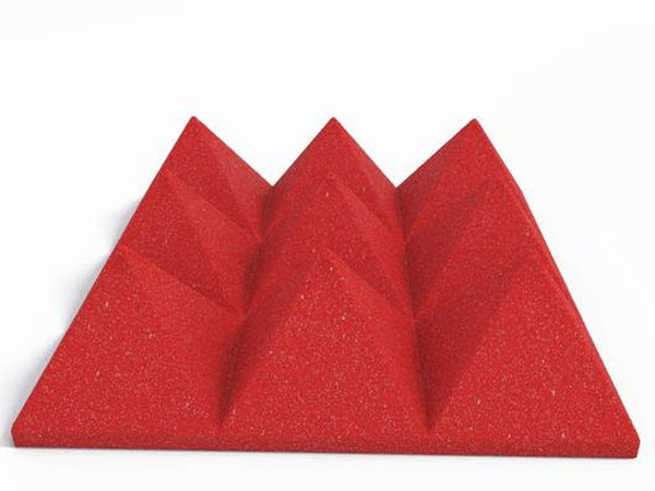 "4"" Red Acoustic Foam (12 Pack Kit) - Pyramid 4"" 12"" x 12"" covers 12sq Ft SoundProofing/Blocking/Absorbing Acoustical Foam Made In USA!"