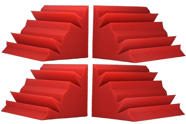 "Soundproofing Acoustical Corner Bass Traps Acoustic Foam Bass Trap Studio Corner Wall 12"" X 12"" X 24"" (4 PACK) Red"