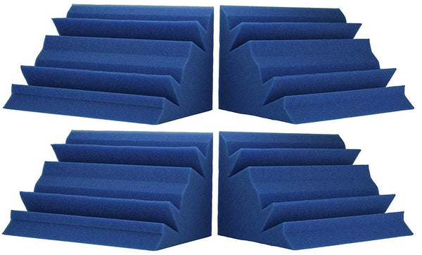 "Soundproofing Acoustical Corner Bass Traps Acoustic Foam Bass Trap Studio Corner Wall 12"" X 12"" X 24"" (4 PACK) Blue"
