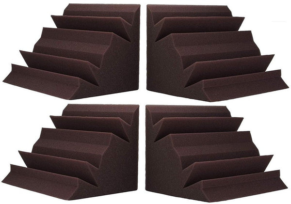 "Soundproofing Acoustical Corner Bass Traps Acoustic Foam Bass Trap Studio Corner Wall 12"" X 12"" X 24"" (4 PACK) Burgundy"