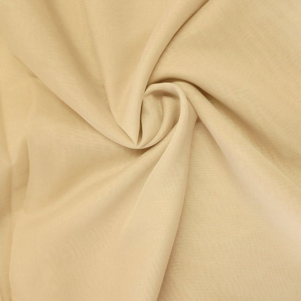"Champagne Sheer Voile Fabric 118"" Wide Curtain Drapery and Apparel 100% polyester. Sold By The Yard"