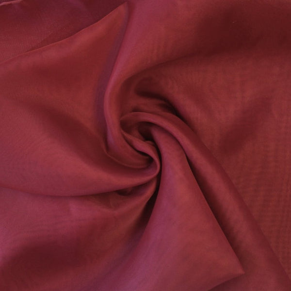 "Burgundy Sheer Voile Fabric 118"" Wide Curtain Drapery and Apparel 100% polyester. Sold By The Yard"