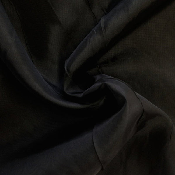 "Black Sheer Voile Fabric 118"" Wide Curtain Drapery and Apparel 100% polyester. Sold By The Yard"