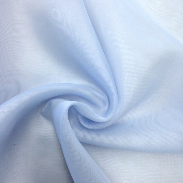 "Light Blue Sheer Voile Fabric 118"" Wide Curtain Drapery and Apparel 100% polyester. Sold By The Yard"