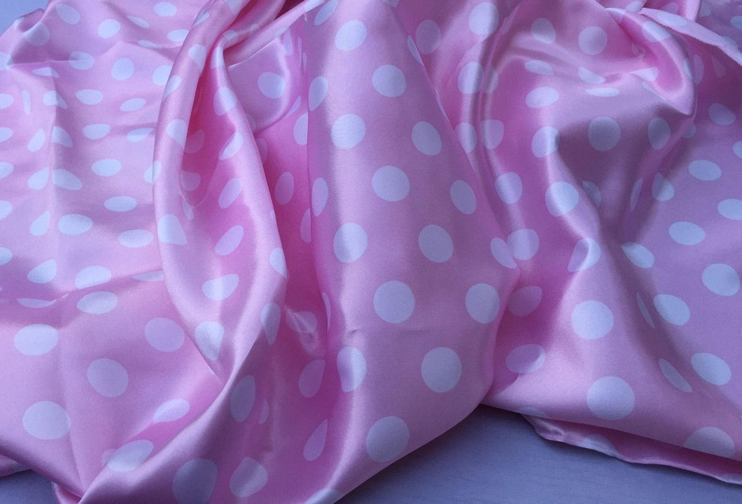 Pink/white 1/2inch Polka Dot Silky/soft Charmeuse Satin Fabric. (20 Yards)