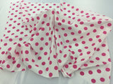 Poly Cotton Fabric White Fuchsia Polka Dots Design By Yard