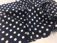 Poly Cotton Fabric Navy White Polka Dots Design By Yard