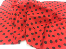 Load image into Gallery viewer, Poly Cotton Fabric Red Black Polka Dots Design By Yard
