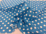 Poly Cotton Fabric Turquoise White Polka Dot Design By Yard