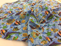 Poly Cotton Fabric Fish Design Blue Sold By Yard