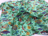 Poly Cotton Fabric Fish Design Green By Yard