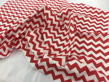 "Load image into Gallery viewer, Poly Cotton Fabric Zig Zag Design Red White 1"" By Yard"