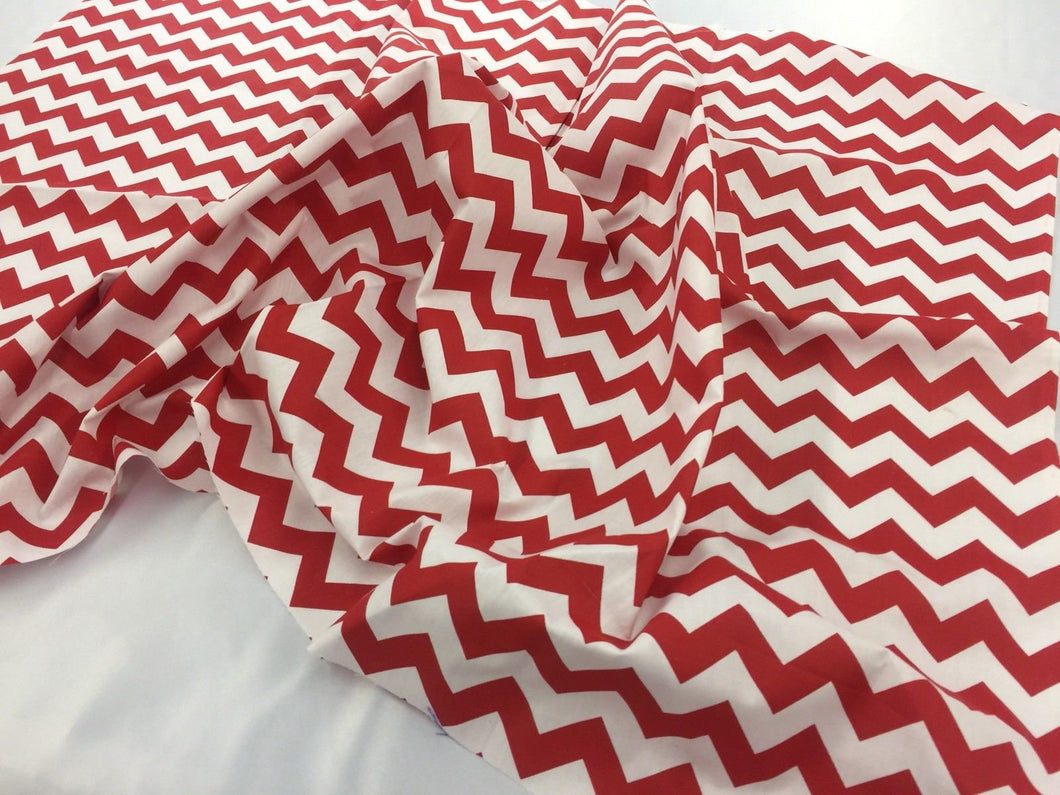 Poly Cotton Fabric Zig Zag Design Red White 1