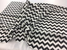 Load image into Gallery viewer, Poly Cotton Fabric Zig Zag Design Black White By Yard