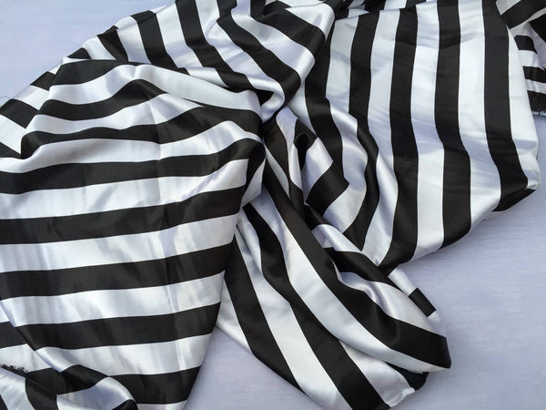 White/black 1inch Stripe Soft/silky Charmeuse Satin Fabric. Sold By The Yard.