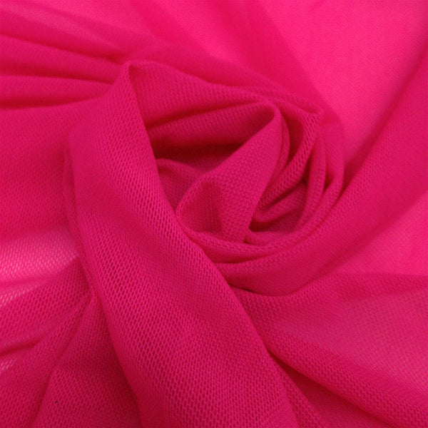 "Solid Power Mesh Fabric Nylon Spandex 60"" wide Stretch Sold by 5 yards Fuschia"