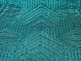 Teal Geometric Sequins Embroider On A Nude Mesh.nightgown/prom/bridal/lace
