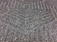 Silver Geometric Sequins Embroider On A White Mesh Lace.Nightgown/Prom/ By Yard.